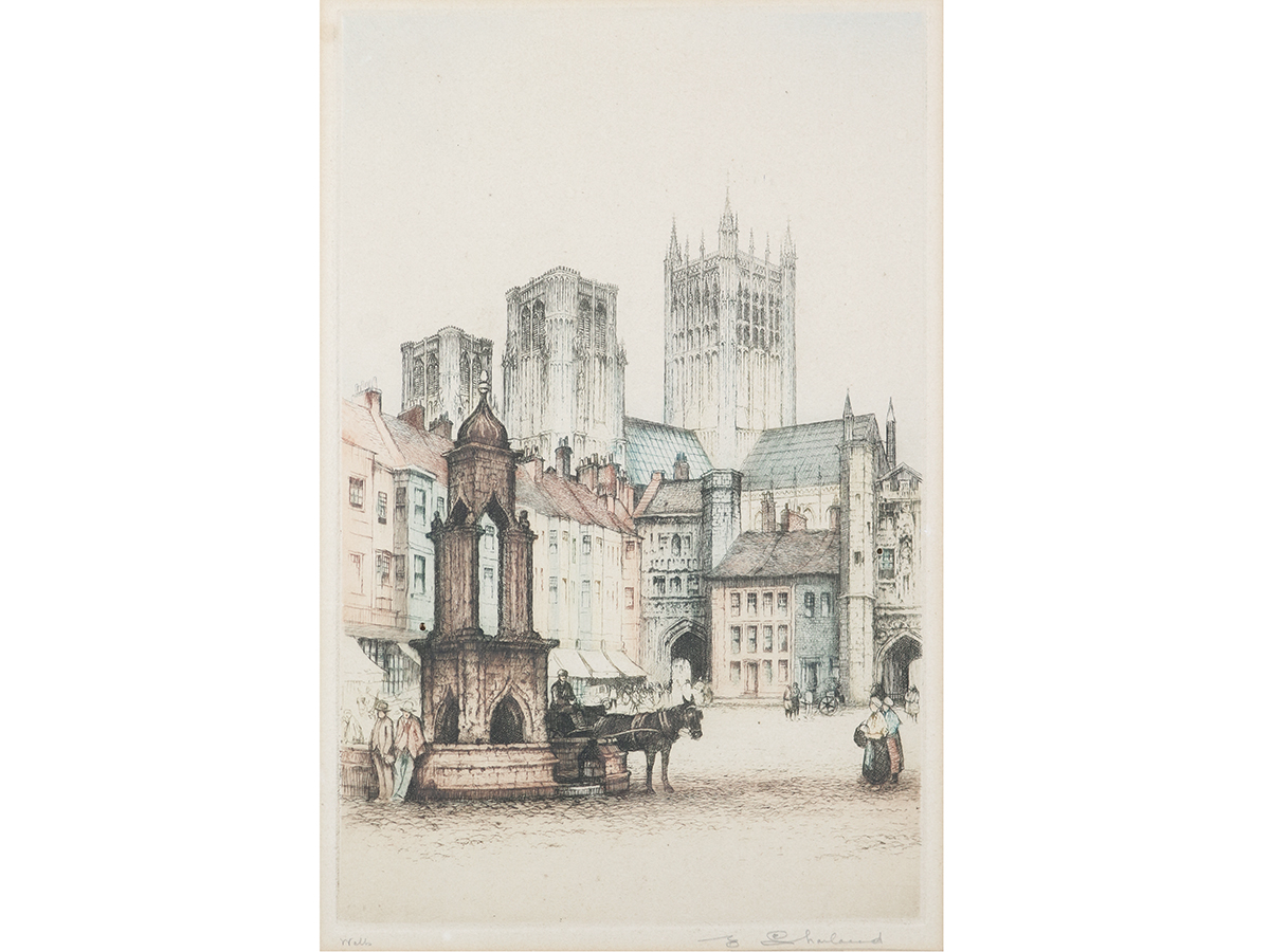 Edward Sharland, Etching. Wells Cathedral Somerset