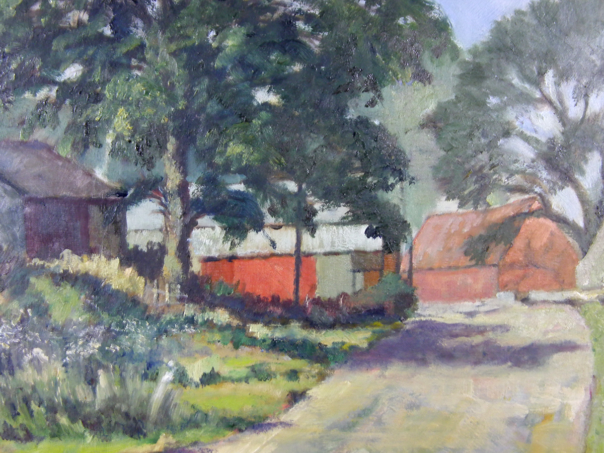 P Slack, Barns on the lane, oil on board