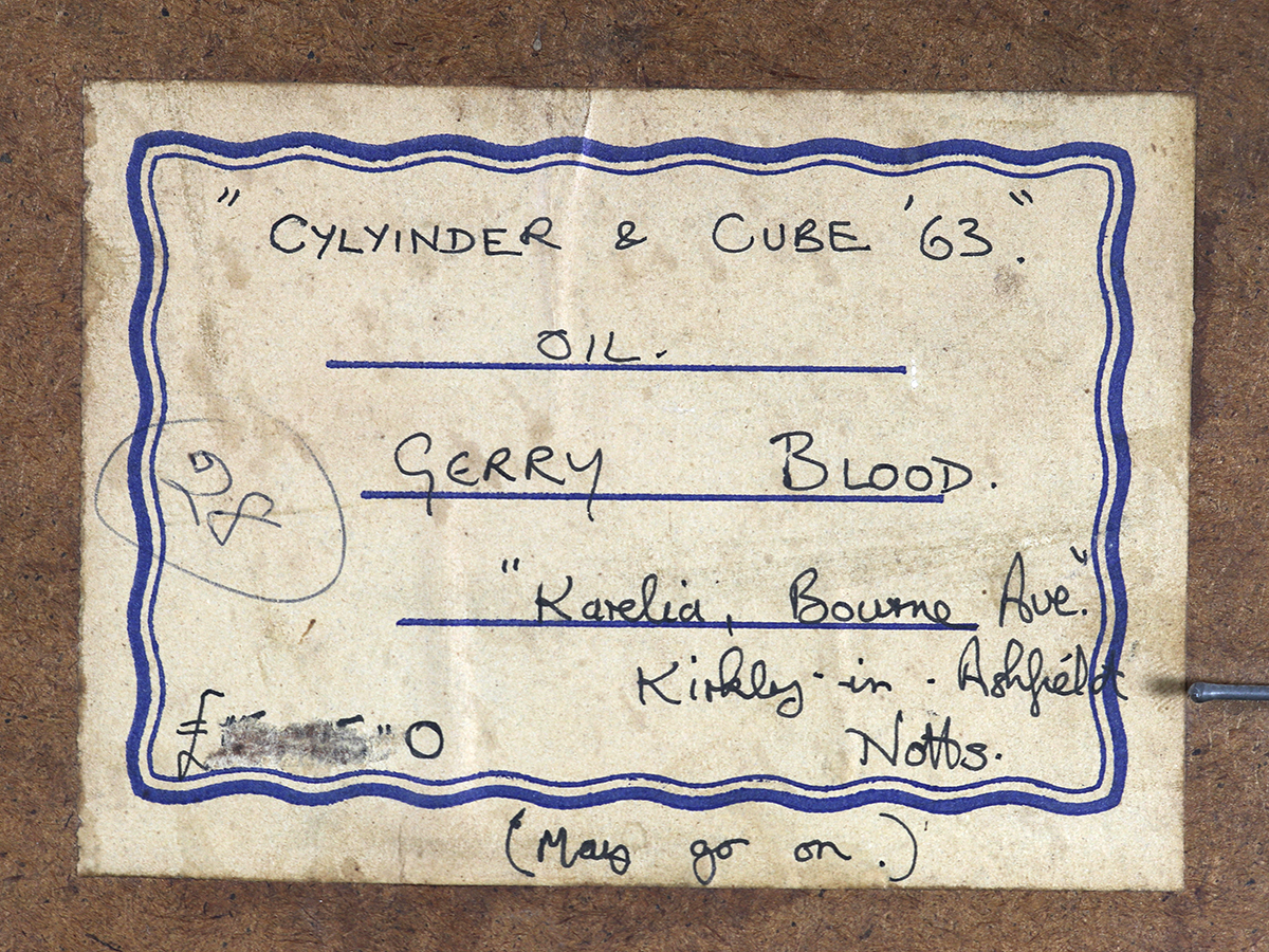 Gerry Blood, Oil on Board. Cylinder & Cube '63.