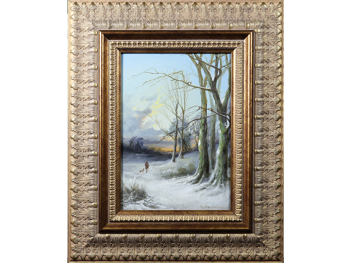 Edward Partridge, A Winter Evening 19th Century Oil on Board