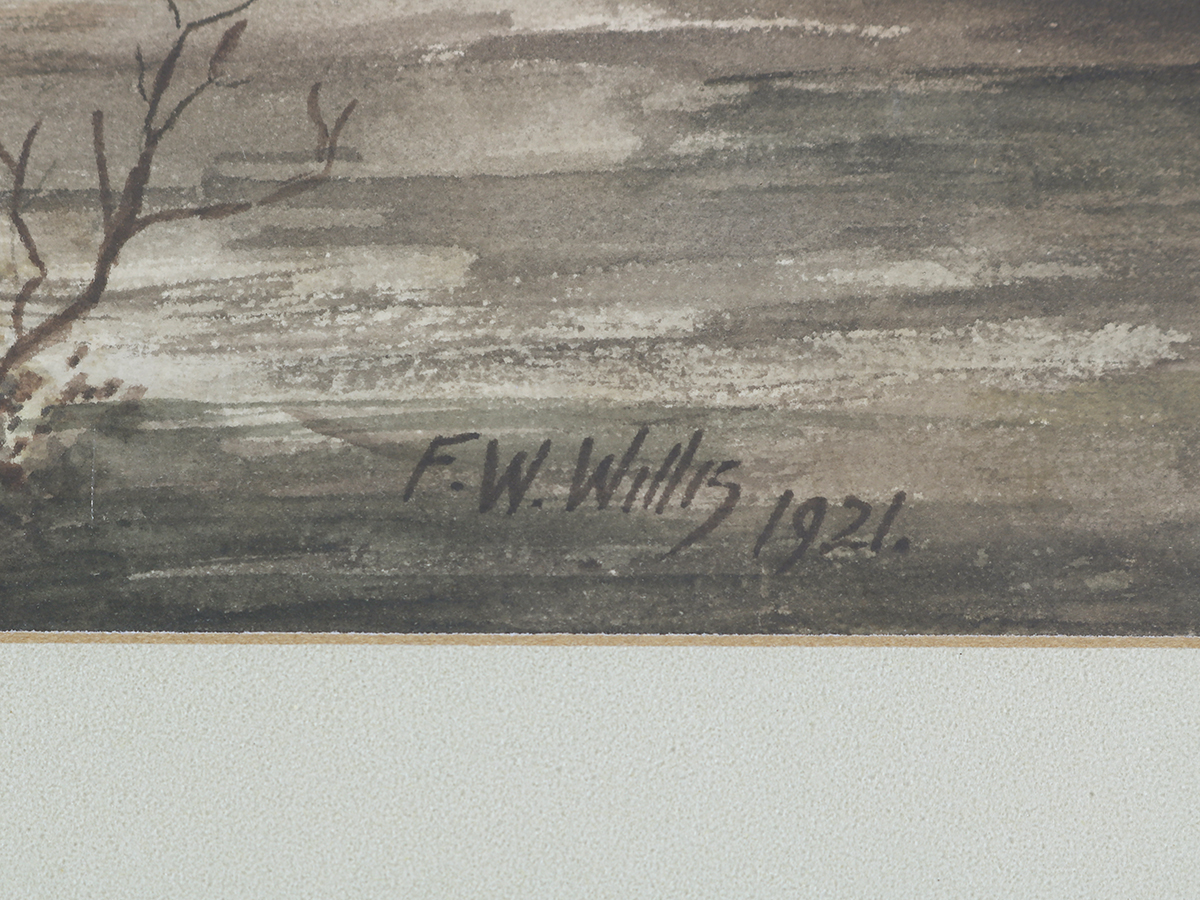 F W Willis, Woodland / River Landscape, Watercolour, 1921
